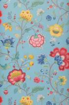 Wallpaper Belisama Matt Leaves Flower tendrils Bugs Pastel blue Beige grey Blue Golden yellow Raspberry red Patina green