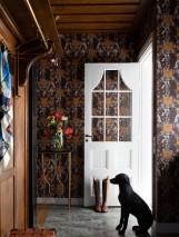 Papier peint Sir Grace Mat Damassé baroque Fruits Lions Chevaux Oiseaux Brun ocre Blanc brun Brun chocolat