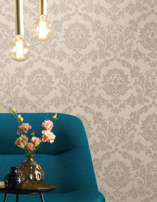 Papel pintado textil Papel pintado Clarise gris beige Ver habitación