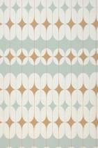 Papel pintado Yukina Mate Elementos gráficos Diseño retro Turquesa menta claro Blanco crema Oro perla