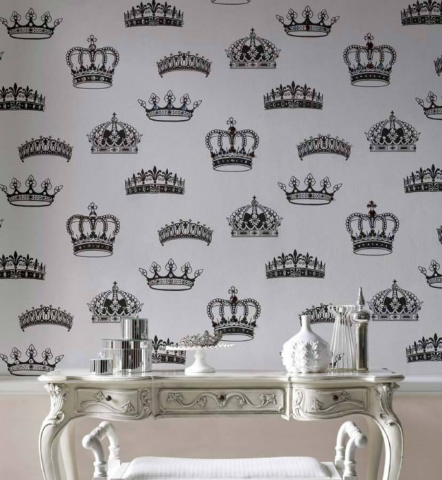 Papel pintado Save the Queen Mate Coronas Blanco Negro