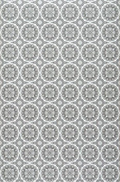 Papel de parede Finola Mate Ornamentos arredondados Branco Cinza claro Cinza negrusco Cinza prateado