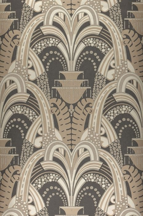 Wallpaper Kisum Shimmering pattern Matt base surface Art Deco Stylised leaves Stylised fountains Anthracite Pale beige grey Pale beige grey shimmer Pale grey brown