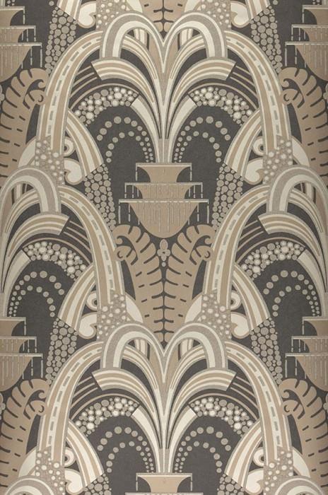 Papel pintado Kisum Patrón brillante Superficie base mate Art Deco Hojas estilizadas Fuentes estilizadas Antracita Gris beige pálido Gris beige pálido brillante Marrón grisáceo pálido