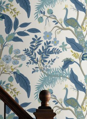 Papier peint Peacock Tree bleu pastel Raumansicht