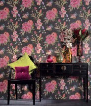 Papel pintado Fenja Mate Flores Orquídeas Gris oscuro Verde amarillento Naranja Rosa Rojo Violeta