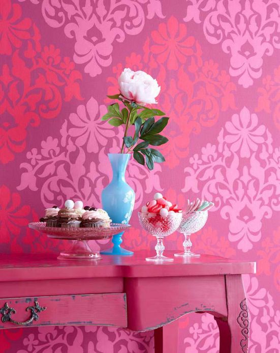 Archiv Wallpaper Parvati raspberry red Room View