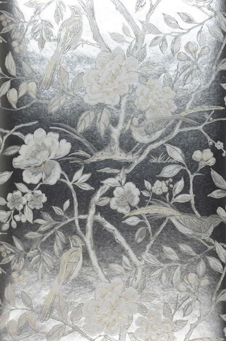 Papel pintado Fatima Efecto impreso a mano Efecto metalizado Patrón mate Ramas de loto Pájaros Plata Beige parduzco Blanco grisáceo Beige verdoso Gris claro