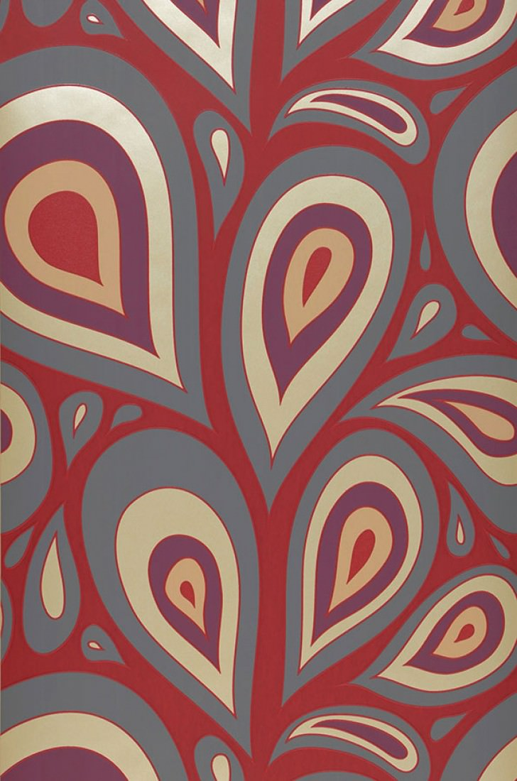 Wallpaper Celestia Matt Retro Elements Stylised Leaves Ruby Red Dark Grey Violet Light Ivory Shimmer Roll Width