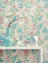 Papier peint Miri Aspect impression à la main Mat Vrilles de fleur Oiseaux Gris blanc Beige Bleu foncé Vert pastel Rouge Bleu turquoise