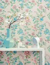 Wallpaper Miri Hand printed look Matt Flower tendrils Birds White grey Beige Dark blue Pastel green Red Turquoise blue