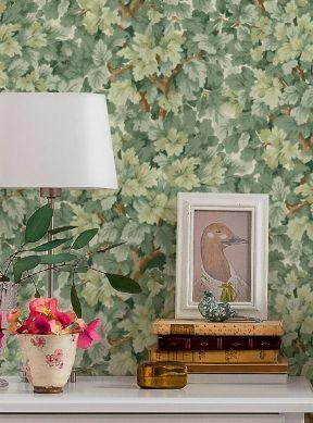 Papel de parede Kutani tons de verde Raumansicht
