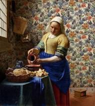 Wallpaper Joslina Matt Looks like textile Flowers Beige Cream Blue Brown Green Orange Red Violet blue