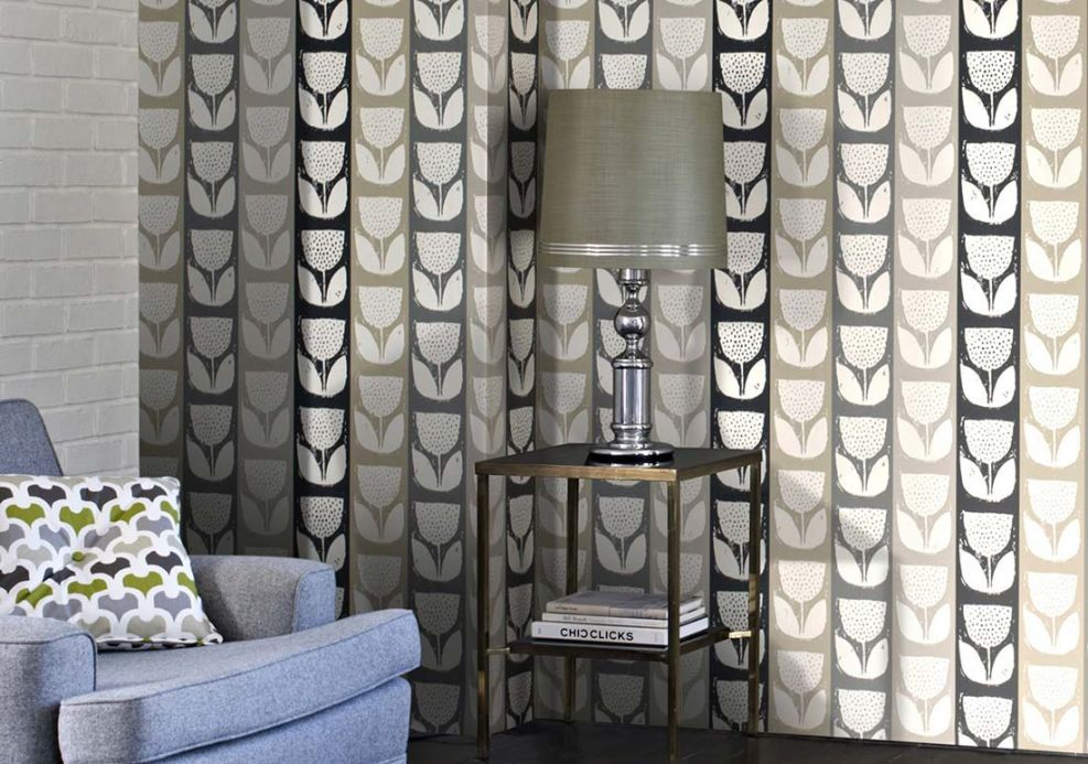 Floral Wallpaper Wallpaper Ana anthracite grey Room View