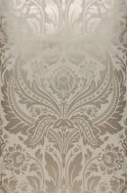 Papel pintado Manus Patrón brillante Superficie base mate Damasco floral Beige grisáceo pálido Beige perla