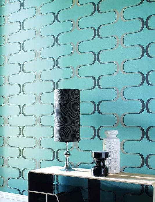 Geometric Wallpaper Wallpaper Dusares mint turquoise Room View