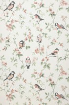 Wallpaper Loredana Matt Flower tendrils Birds Cream Anthracite Beige red Pale green White