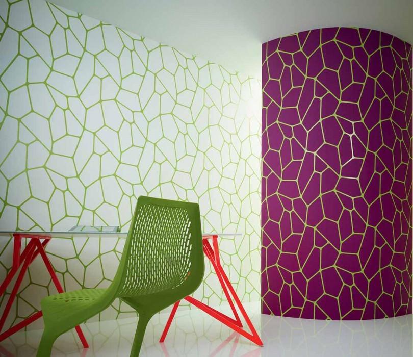 Papier peint Edina Mat Art moderne Blanc Vert jaune lustre