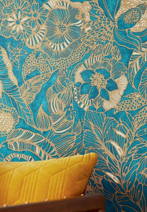 Papel pintado botánico Papel pintado Welamie aguamarina brillante Ver habitación