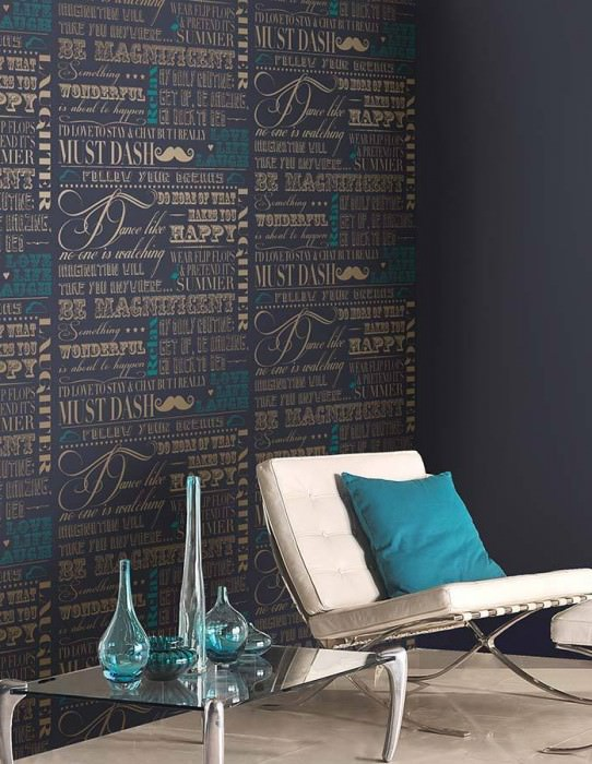 Wallpaper Laurito Shimmering pattern Matt base surface Words Black blue Turquoise blue White gold