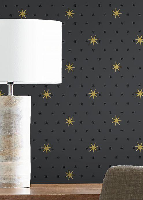 Geometric Wallpaper Wallpaper Mako dark grey Room View