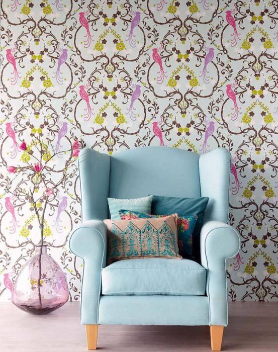 Wallpaper Bellona Matt Shimmering base surface Floral damask Birds Light beige grey shimmer Yellow green Grey brown Violet