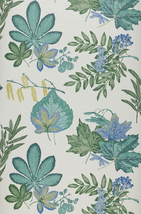 Papel pintado Samarina Mate Hojas Frutas Blanco crema Azul Amarillo verdoso Tonos de verde