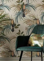 Wallpaper Toucan Jungle Hand printed look Matt pattern Shimmering base surface Toucan Branches with leaves and blossoms Cream shimmer Beige Shades of green Mint turquoise Slate grey
