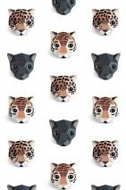Papel pintado Panthera 01 Mate Leopardos Panteras Tigres Blanco crema Antracita Tonos de marrón Azul grisáceo Negro