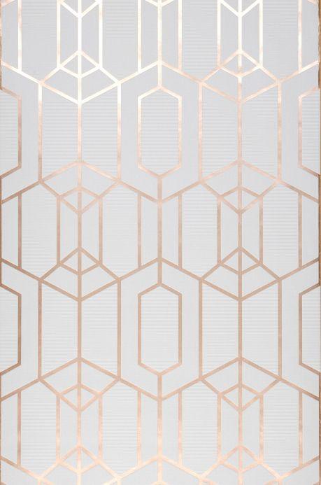 Papel de parede geométrico Papel de parede Harlowe cinza esbranquiçado Bahnbreite