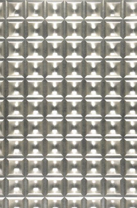 Carta da parati geometrica Carta da parati Gorgo argento lucido Larghezza rotolo