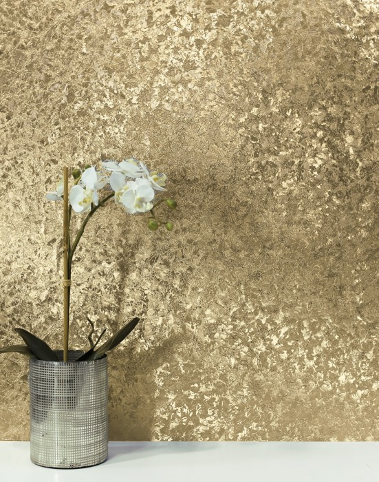 Wallpaper Lucinda Metallic effect Crush imitation Gold