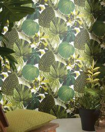 Papier peint Venaria vert fougère