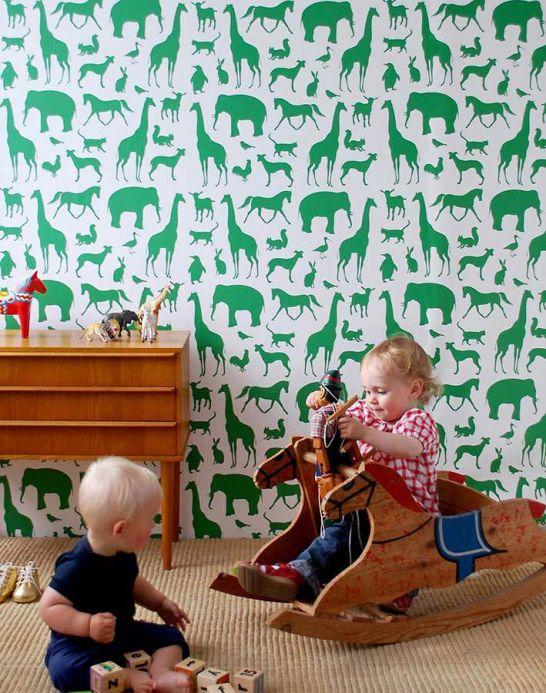 Archiv Papel pintado Animal Farm verde Ver habitación