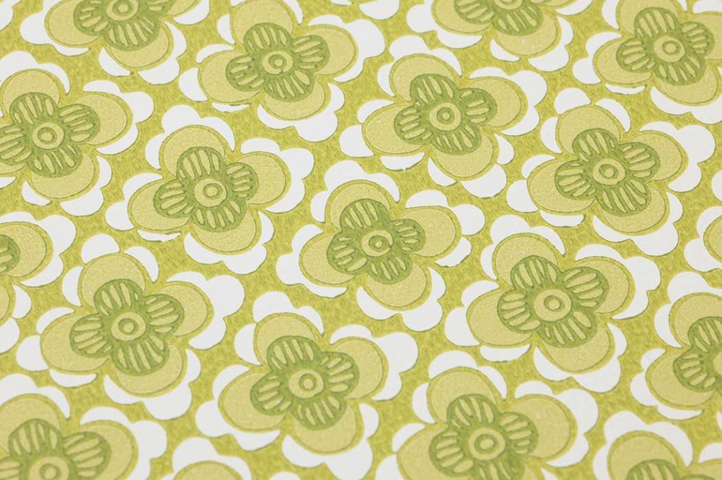 Tapete Galina Matt Stilisierte Blüten Gelbgrün Blassgelbgrün Grün Weiss