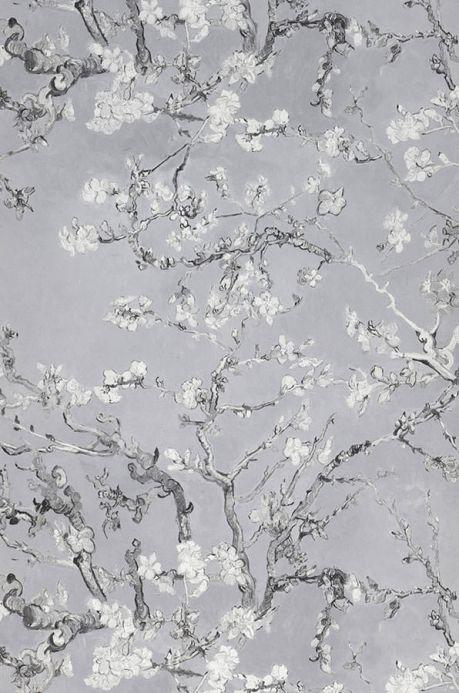 Carta da parati floreale Carta da parati VanGogh Blossom grigio chiaro Larghezza rotolo