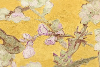 Wallpaper VanGogh Blossom Matt Branches with leaves and blossoms Yellow Pale green Brown Olive green Violet