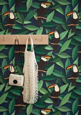 Papel de parede Toucan tons de verde Raumansicht