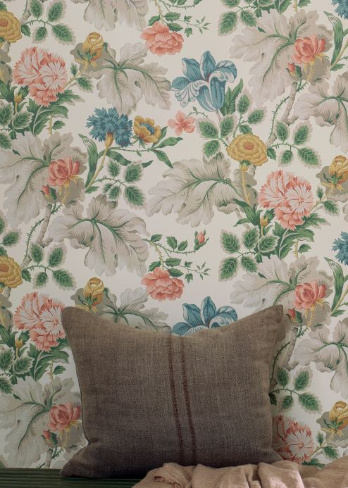 Papel pintado floral Papel pintado Jonata blanco crema Ver habitación
