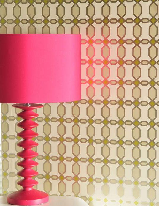 Papel pintado geométrico Papel pintado Diamonds verde amarillento Ver habitación