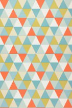 Wallpaper Tamesis Matt Triangles Cream Green yellow Mint turquoise Red orange