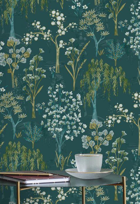 Papel pintado botánico Papel pintado Sinfonia verde azulado Ver habitación