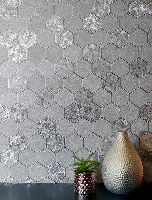 Wallpaper Hexagono silver Room View