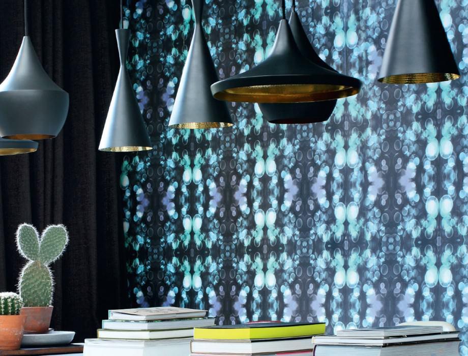 Wallpaper Mendonka Matt Bubbles Light dots Black grey Blue violet Light blue Light green White