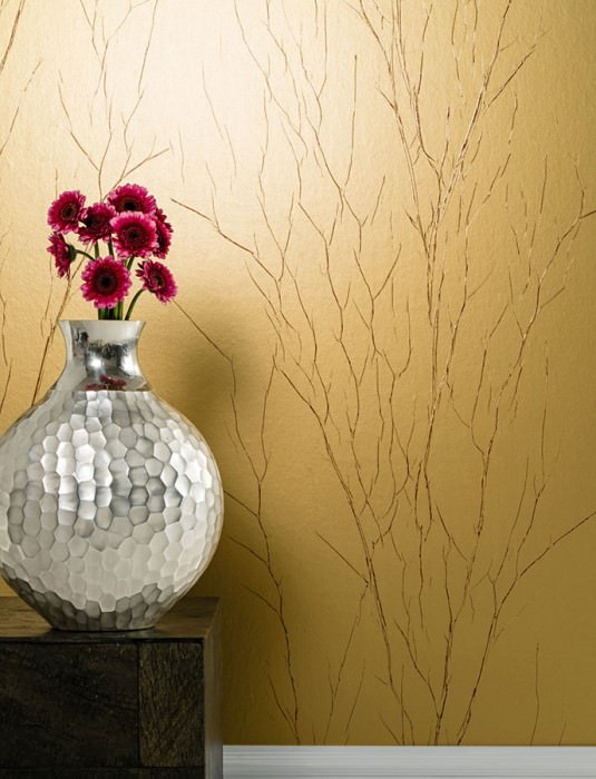 Wallpaper Crush Tree 01 Matt pattern Shimmering base surface Wrinkles Gold Red