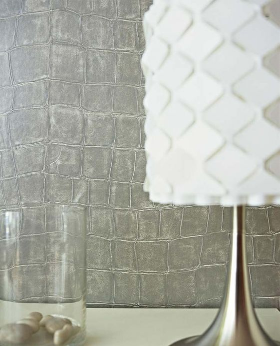 Faux Leather Wallpaper Wallpaper Croco 08 silver grey Room View