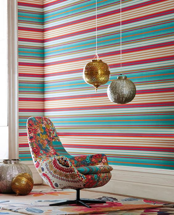 Wallpaper Milu Matt Stripes Cream Strawberry red Mint turquoise Turquoise blue