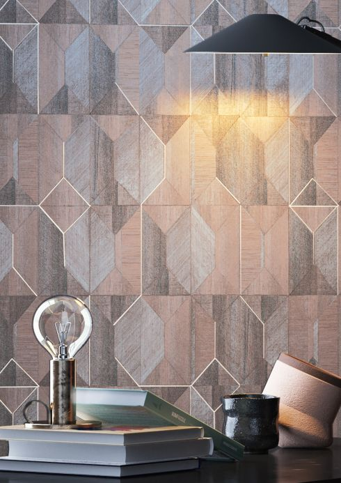Geometric Wallpaper Wallpaper Moura blue grey Room View