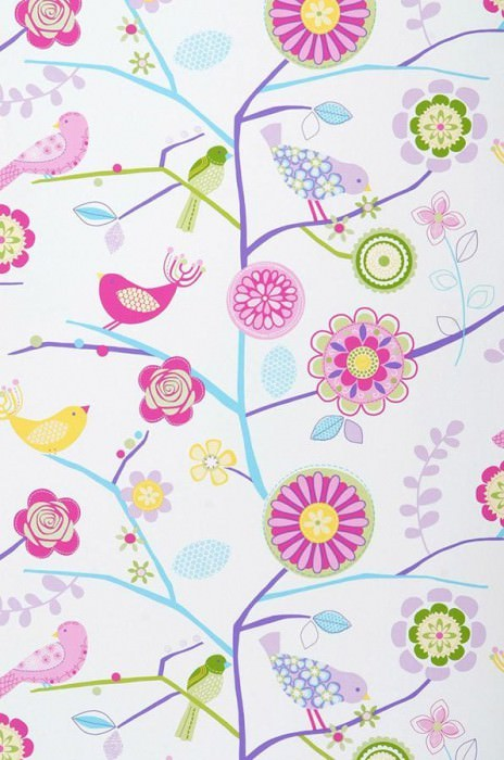 Wallpaper Milena Matt Birds Branches with leaves and blossoms White Yellow Light green Pastel turquoise Pink Rose