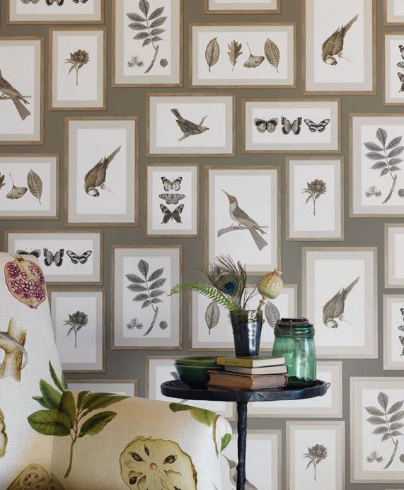 Country style Wallpaper Wallpaper Jara olive grey Room View